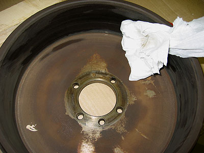 cleaning brake drum land rover